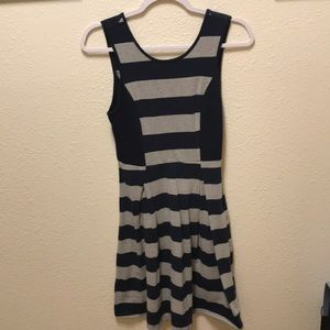 Pixley - navy and grey stripped dress